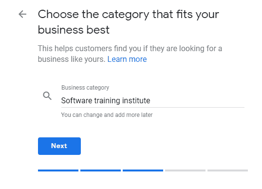 Category of Google Business listing