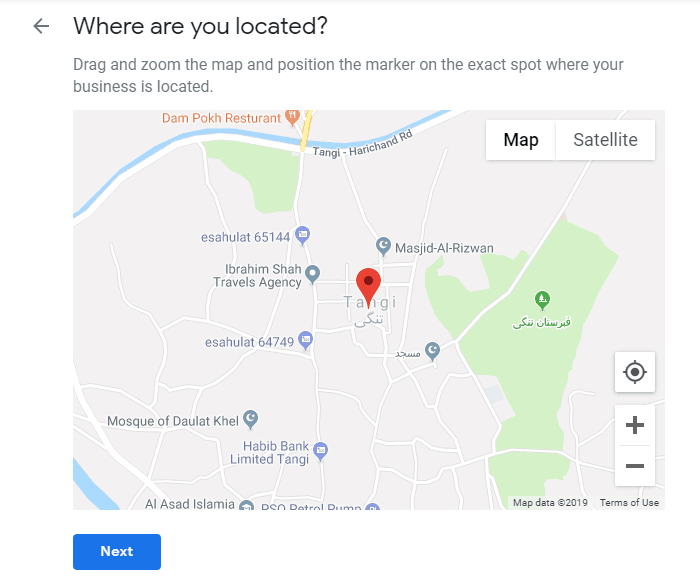 Location of Google Business