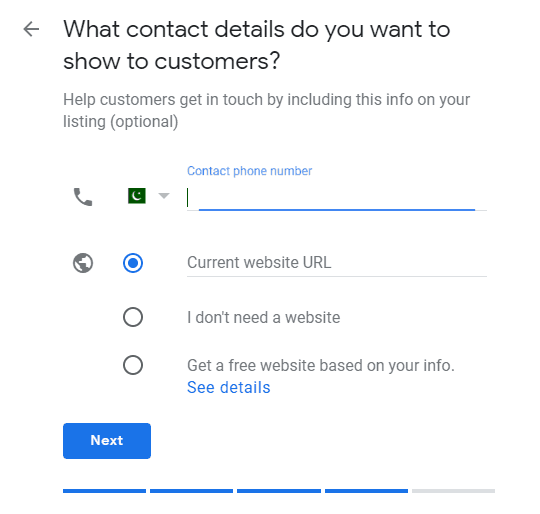 Add Contact details of Business in Google My Business