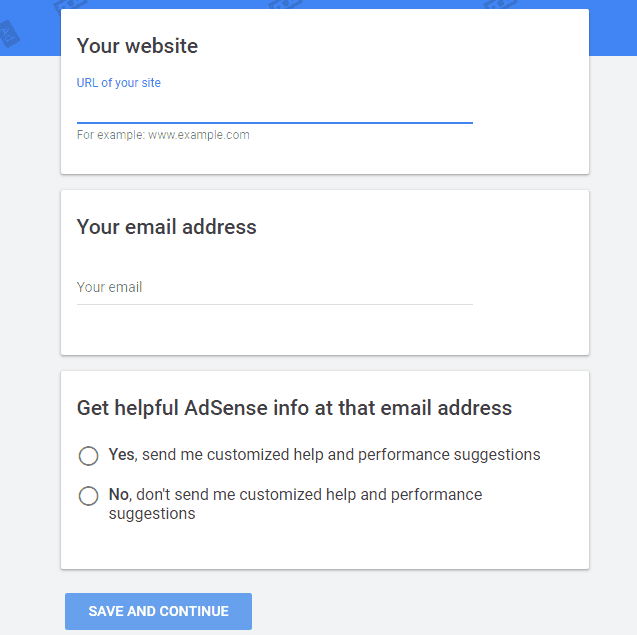 Website URL and Email in Adsense