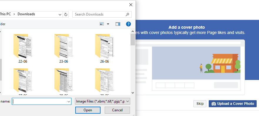 Add cover photo for page