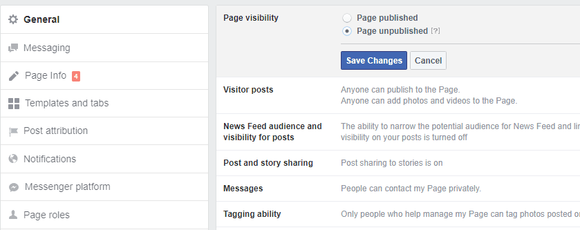 Unpublished Facebook Page