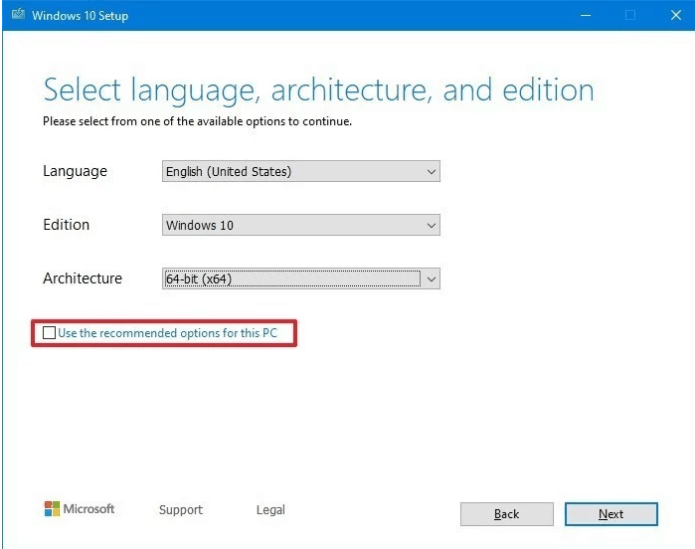 Select windows settings