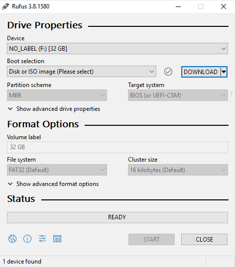 Rufus settings for installing Windows 10 from USB