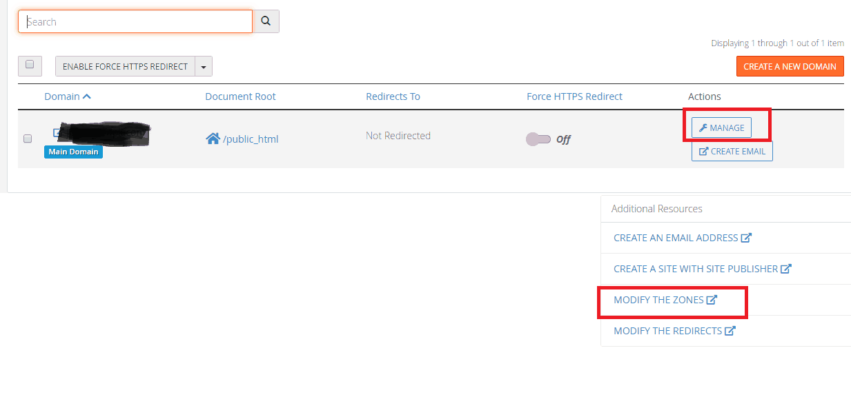 Edit zones of Custom Domain to map it to blogger