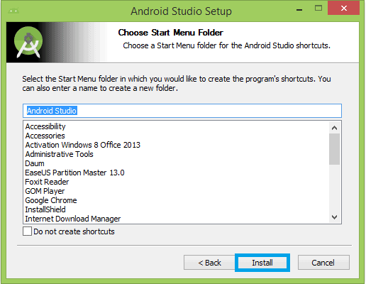 Choose folder to install android studio in