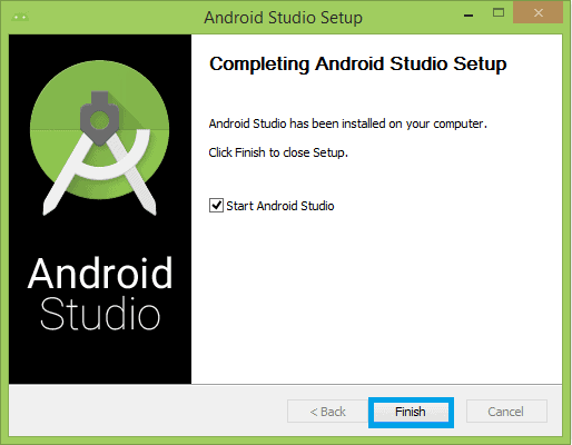 Completing installation of android studio